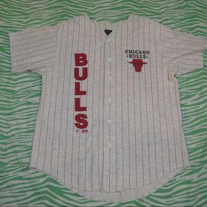 Vintage 90s Chicago Bulls Baseball Jersey Shirt  L